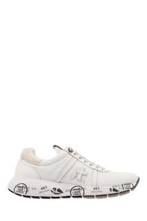 Белые кроссовки с серебристой шнуровкой Premiata
