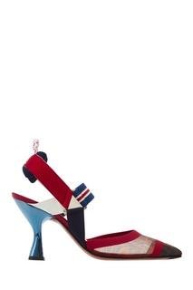 Комбинированные слингбэки на каблуке-рюмке Fendi