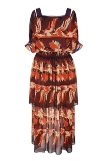 Шелковое платье макси с какаду Fendi