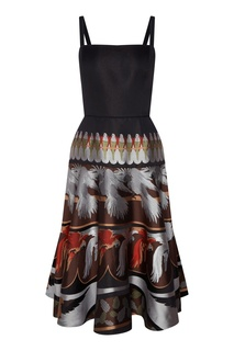 Шелковое платье с жаккардовым узором Fendi