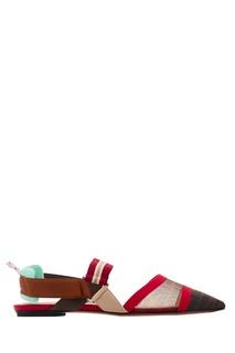 Комбинированные остроносые туфли на плоской подошве Fendi