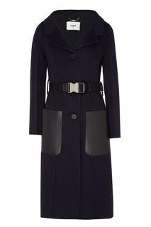 Пальто с контрастными накладными карманами Fendi