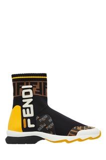 Кроссовки-носки с логотипами и монограммами FF Fendi