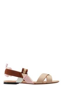 Бежево-коричневые текстильные сандалии Fendi