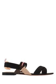 Бежево-черные текстильные сандалии Fendi