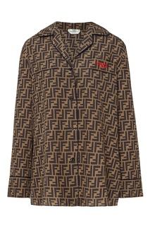 Коричневая блуза с монограммами FF Fendi