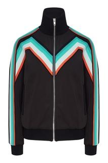 Черная олимпийка с разноцветными полосами Maje
