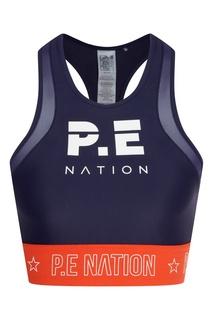 Темно-синий спортивный топ с принтом P.E Nation