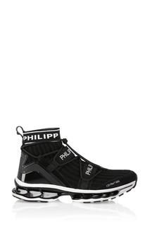 Черные кроссовки с вязаным корпусом Philipp Plein