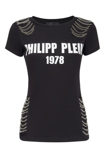Черная футболка с принтом и цепочками Philipp Plein