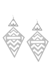 Серебристые серьги с треугольниками Aqua