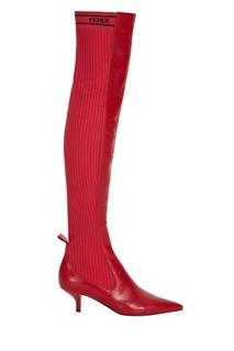Комбинированные красные ботфорты Fendi