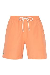 Оранжевые шорты с эластичным поясом Lacoste