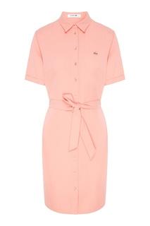 Розовое платье-рубашка с поясом Lacoste