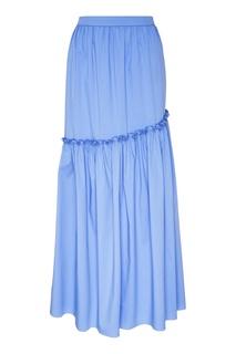 Голубая юбка с оборкой