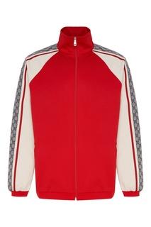 Красная олимпийка с контрастными рукавами Gucci Man