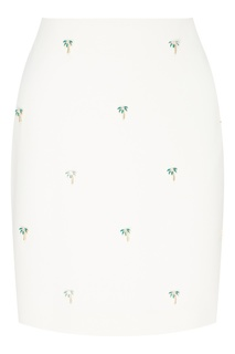 Белая мини-юбка с нашивками-пальмами Maje