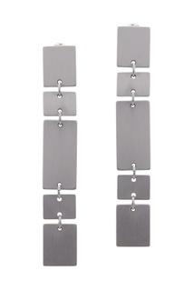 Серебристые серьги с геометрическим дизайном Adolfo Dominguez