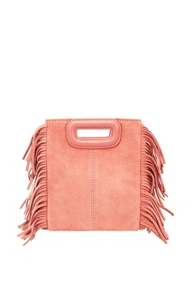 Розовая замшевая сумка с бахромой M Mini Bag Maje