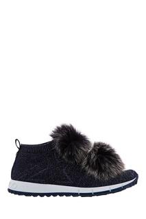 Синие кроссовки Norway с мехом Jimmy Choo