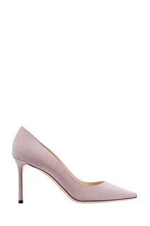 Мерцающие бежево-розовые туфли Romy 85 Jimmy Choo