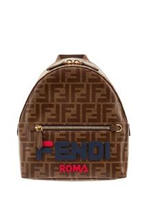 Коричневый мини-рюкзак с монограммами FF Fendi