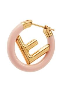 Золотисто-розовая серьга F is Fendi