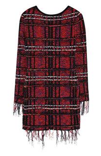 Буклированное мини-платье с бахромой Balmain
