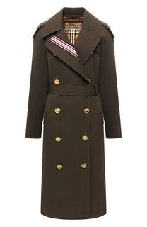 Двубортное хлопковое пальто Burberry