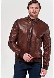 Кожаная куртка с отделкой трикотажем Jorg Weber
