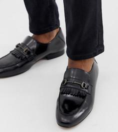 Черные кожаные лоферы для широкой стопы с планкой H by Hudson Chichister - Черный