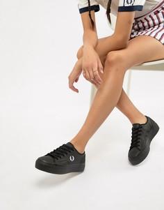 Черные кроссовки с покрытием на плоской подошве Fred Perry - Черный