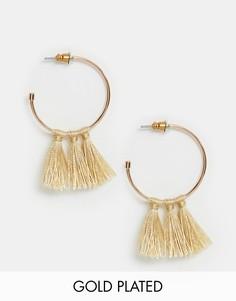Серьги-кольца с покрытием розовым золотом Pilgrim - Золотой