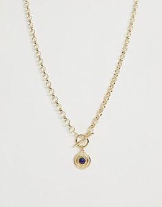 Золотистое ожерелье с полудрагоценным камнем ASOS DESIGN - Золотой