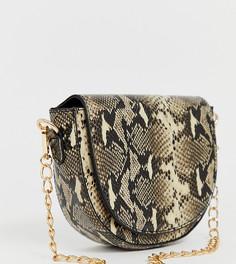 Сумка на плечо из искусственной змеиной кожи с ремешком-цепочкой My Accessories London - Бежевый