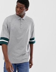 Серая меланжевая футболка-поло свободного кроя с контрастным кантом ASOS DESIGN - Серый