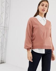 Джемпер с V-образным вырезом и пышными рукавами ASOS DESIGN - Розовый