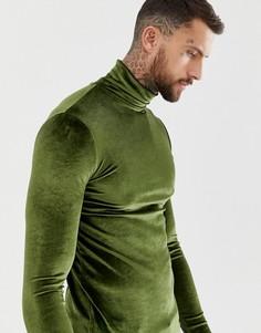 Обтягивающая велюровая водолазка цвета хаки ASOS DESIGN - Зеленый