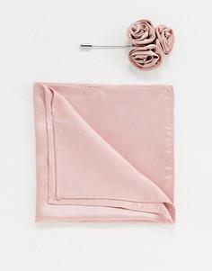 Атласный платок для нагрудного кармана с цветочным принтом и булавка для лацкана Gianni Feraud Wedding - Коричневый