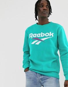 Сине-зеленый свитшот с логотипом Reebok vector - Синий