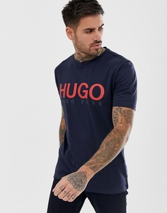Темно-синяя футболка с логотипом HUGO Dolive-U3 - Темно-синий