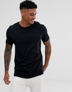 Черная футболка с логотипом на груди HUGO - Черный