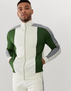 Светло-бежевая спортивная куртка колор блок ASOS DESIGN - Белый