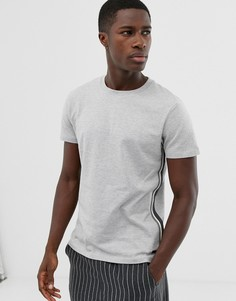 Серая футболка из плотного материала с круглым вырезом и отделкой по бокам Esprit - Серый