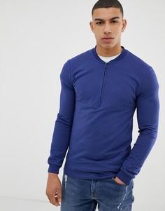 Темно-синий облегающий свитшот с короткой молнией ASOS DESIGN - Темно-синий
