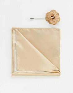 Булавка на лацкан с цветком и платок для пиджака Gianni Feraud - Коричневый