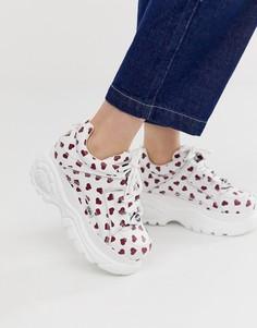 Низкие кроссовки на платформе с принтом сердец Buffalo - Белый