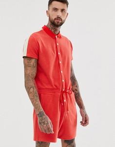 Красный махровый комбинезон с полосками по бокам ASOS DESIGN - Красный