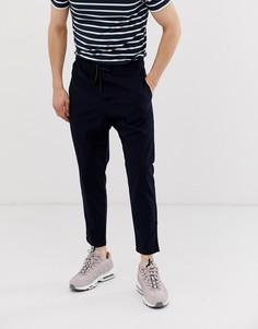 Темно-синие брюки с эластичной талией Bershka - Темно-синий