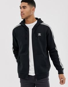 Черный худи на молнии с логотипом adidas Originals DV1551 - Черный